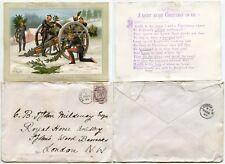 GB 1885 ROYAL HORSE ARTILLERY CHRISTMAS CARD + ENVELOPE MILDMAY...H PAYNE ARTIST