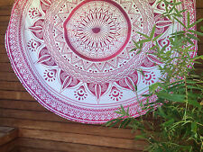 """48"""" Round Ombre Mandala Indian Tapestry Beach Picnic Mat Blanket Table Decorativ"""