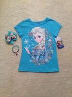 New Blue/ Pink Short Sleeve Frozen Elsa/Anna T-Shirt Toddlers/Girls (2T- 6x) Bow