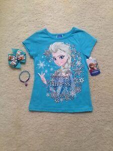 New Blue/ Pink Short Sleeve Frozen Elsa/Anna T-Shirt Toddlers/Girls (2T- 6x)