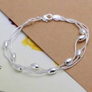 Solid Silver Bracelet Jewelry Cute 925 Wedding Women Bead Bracelet Lady Gift .s