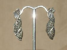 "Vintage Art Deco Sterling Silver & Marcasite Leaf Pierced Post Earrings 1 3/8"""