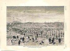 Fête de l'Union Fédérale de Gymnastique à Reims Champagne Gymnastes GRAVURE 1882