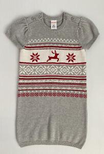 Gymboree Girls Christmas Dress Grey Red Knit Sweater Dress Cotton Size 4