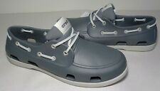 Crocs Size 12 CLASSIC BOAT SHOE Slate Grey White New Men's Water Shoes