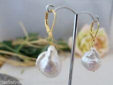 Ohrringe aus Echten Perlen Barock Riesig 14 x 20 mm Weiß, 925er Silber vergoldet