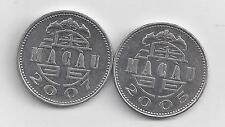 2 NICE 1 PATACA COINS from MACAU DATING 2005 & 2007