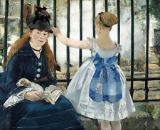 Wonderful Oil painting Edouard Manet - St. Nicholas Charl  Station lady & girl
