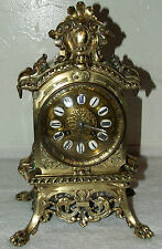 ANTIQUE WORKING 19th C. FRENCH VICTORIAN ORNATE BRASS CLOCK with LION'S PAW FEET
