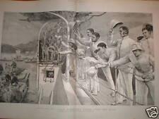 Goodbye to Japan British ironclad departs 1890 print
