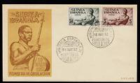 Sobre Primer Dia Guinea Española 1952 Serie Basica colonias españolas First day