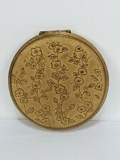 Vintage Stratton Gold Tone Floral Makeup Compact Mirror Round