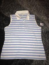 Tommy Hilfiger Women's Summit Blue Striped Sleeveless Polo Shirt Size XL