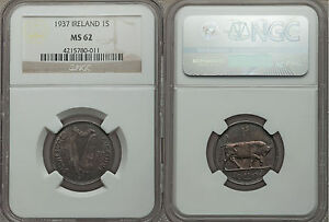 Rare 1937 Ireland Silver 1 Shilling-Bull/Harp- NGC-MS62