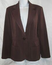 SAG HARBOR Classic Blazer,Dark Brown Career Jacket,Button Down Coat,Stretchy,8