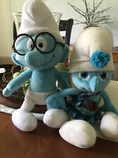 Lot of 2 Blue Smurf plush dolls Movie 2013 Gutsy Popa Smurf With glasses