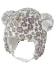 GYMBOREE CUDDLE CLUB GRAY LEOPARD FUR TRAPPER HAT 6 12 NWT