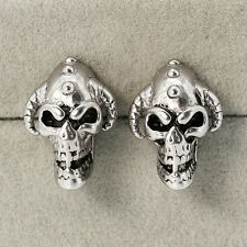 Punk Unisex Earring Hiphop Retro Silver Evil Skull Head Stainless Steel Earring&