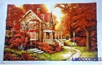 """New Finished completed Cross stitch""""Maple leaves Villa""""home decor gifts"""