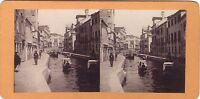 Venezia Italia Canale Rio Marina Foto Stereo Vintage Albumina Ca 1875