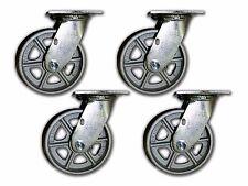 """6"""" Set of 4 Swivel Steel Casters 1250# Capacity w/ Semi-Steel Albion Wheel"""