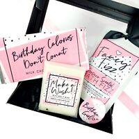 Birthday Pamper gift Set | Chocolate, Mirror, Bath Fizz and Wax Melts | retro
