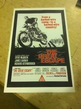 Vintage Steve McQueen Great Escape Motorcycle Poster Advertisement Man Cave Gift