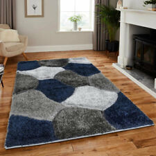 Non Slip Thick Fluffy Rugs Blue Grey 200 x 290 cm Extra Large Bedroom Carpet
