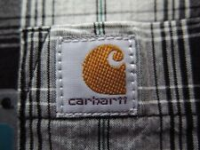 Carhartt Men's Black Plaid Relaxed Fit SS Camp Shirt (M) NEW! 😎