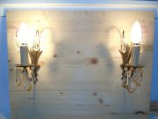 French  a pair of bronze crystals droplets wall light antique