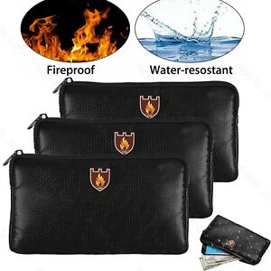 Fireproof Document Bag Waterproof Safe Money Cash Box Secret File Protect Pouch