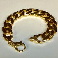 "14kt Solid Yellow Gold Handmade Curb Link Mens Bracelet 8"" 88 Grams 15.5 MM"