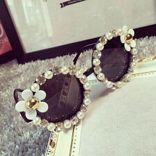 Boutique Women Lady Girl round Oval Rhinestone Flower Pearl sunglasses 1Piece