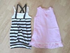 GIRLS' DRESSES TWO PRETTY DRESSES AGE 3-4 YEARS PINK CHECK & BLUE WHITE STRIPE