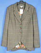 NWT CABI 160 RIDING CLUB Gray/Brown PLAID Wool Blend EQUESTRIAN Lined COAT Sz 14