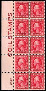 US.#425  WASH/FRANK. PB OF 10 w/ INSCRIPTION - OGLH - VF - $175.00 (ESP#332)