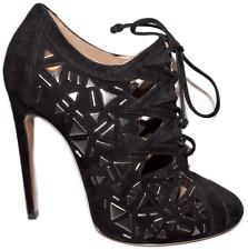 $2490 Azzedine Alaia Black Suede Boots Stud Lace up Ankle Bootie Heel Shoe 39.5
