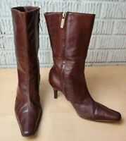 Colin Stuart Womens Knee High Heeled Brown Leather Zip Boots Size 8