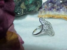 Antique Platinum 1.00ct Diamond Art Deco Filigree Ring Size 7 Estate Minty Clean