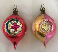 Vintage Double Indented Teardrop Mercury Glass Christmas Ornament Strawberry
