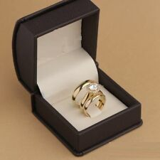 14K Yellow Gold Over Diamond His & Hers Bridal Engagement Ring Wedding Trio Set