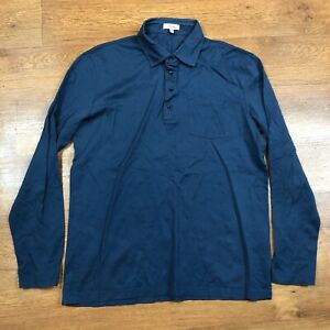 Reiss Polo Shirt Santie Long Sleeve Blue Medium