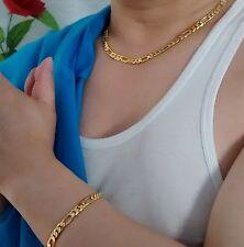18 CT Sin piedra Oro Lleno Figaro 50.8cm Collar 22.9cm Juego De Brazalete