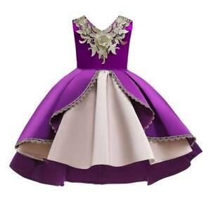 Kids Girls V Neck Ball Gown Formal Dress Wedding Princess Floral Party Proms.