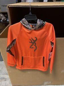 Browning Buckmark Boys Orange And Camo Pullover Sweatshirt