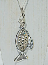 """Vintage Sterling Taxco MPL Large Articulated Fish on Hook Necklace w/ 28"""" Chain"""