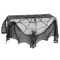 FP- Stove Cloth Spider Net Bat Halloween Pattern Lace Curtain Party Decoration