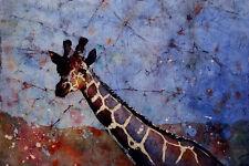 Giraffe at zoo.  Reproduction fine art watercolor batik painting.  Art painting