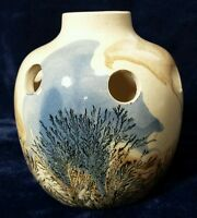 Sevierville Pottery Tennessee Planter Vase Nature Tree Mix Clay Stamped 4.25 In