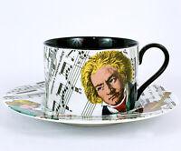 Fitz & Floyd Fine Porcelain - Divertimento Classical Beethoven Tea Cup + Saucer